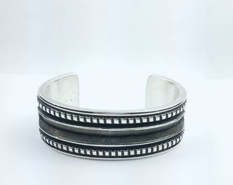 Native American Navajo handmade heavy gauge Sterling Silver cuff bracelet by Elvira Bill