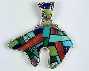 Native American Navajo handmade Sterling Silver multi-stone inlay bear pendant by Calvin Begay
