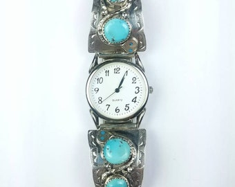 Native American Zuni handmade Sterling Silver Kingman Turquoise stone watch