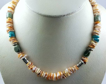 Native American Navajo handmade Sterling Silver Turquoise Spiny Oyster shell beaded necklace by Tommy Singer