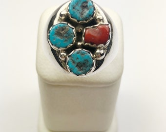 Native American Navajo Handmade Sterling Silver Turquoise, Coral Ring