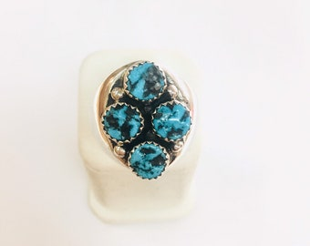 Native American Navajo hand made sterling silver turquoise ring.