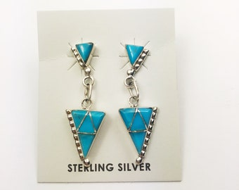 Native American Navajo Handmade Sterling Silver Castle Dome Turquoise Earrings