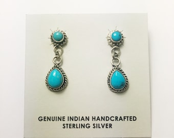Native American Navajo Handmade Sterling Silver Castle Dome Earrings