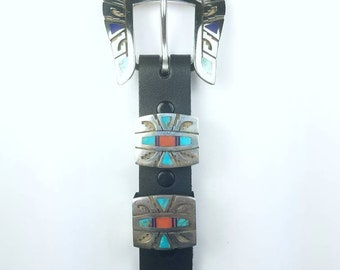 Native American Navajo handmade Sterling Silver inlay Turquoise Lapis Spiny Oyster Onyx stone ranger set belt buckle