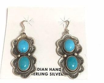 Native American Navajo Handmade Vintage Patina Sterling Silver Turquoise Dangle Earrings