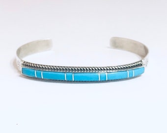 Native American Handmade Zuni Inlay Sterling Silver and Turquoise Cuff Bracelet