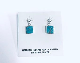 Native American Navajo handmade sterling silver dangle earrings inlaid with Turquoise and sterling silver