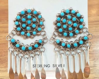 Native American Zuni Handmade Sterling Silver Petit Point Sleeping Beauty Turquoise Earrings
