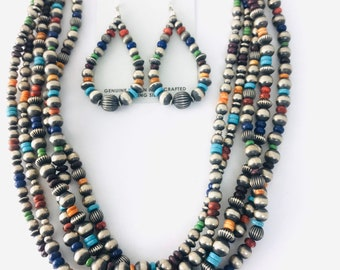 Antique Finish Native American Navajo Handmade 5 Strand Sterling Silver Multi Stone Necklace and Earring Set