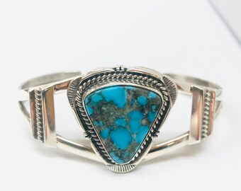 Native American Navajo handmade sterling silver turquoise adjustable cuff bracelet