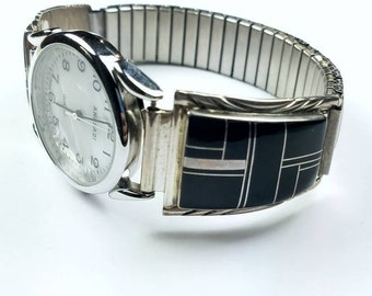 Native American Navajo handmade Sterling Silver inlay Black Onyx stone watch