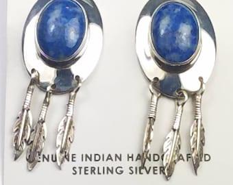 Native American Navajo handmade Sterling Silver Denim Lapis post earrings