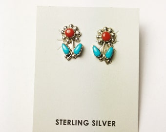 Native American Navajo Handmade Sterling Silver Coral & Turquoise Flower Earrings