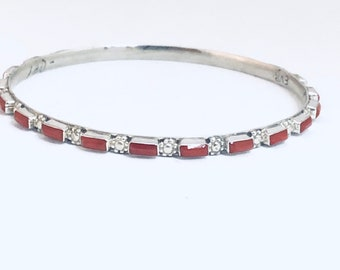 Native American Navajo Sterling Silver and Coral Bangle Bracelet