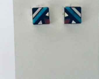 Native American Zuni inlay handmade sterling silver set with multi stones stud earrings