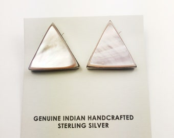 Native American Navajo Handmade Sterling Silver Pink Mother of Pearl Earrings