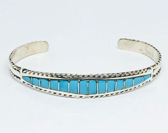 Native American Zuni Inlay Sterling Silver and Sleeping Beauty Turquoise Cuff Bracelet