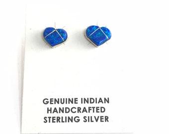 Native American Handmade Navajo Sterling Silver Opal Stud Earrings