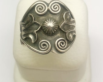 Native American Navajo Handmade Sterling Silver Antiquw Finish Ring