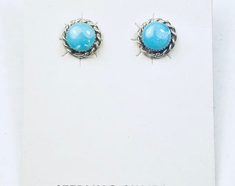 Native American Navajo handmade sterling silver and turquoise post stud earring
