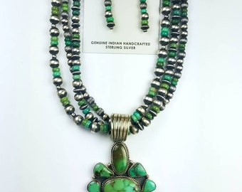 Native American Navajo handmade Sterling Silver Royston Turquoise necklace set