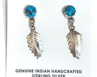 Native American Navajo Handmade Sterling Silver Turquoise Dangle Feather Earrings