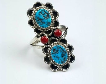 Native American Navajo handmade Sterling Silver Turquoise Coral stone ring