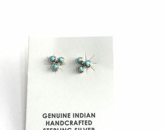Native American Handmade Navajo Sterling Silver Turquoise Stud Earrings