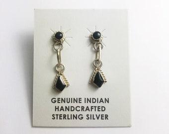 Native American Navajo Handmade Sterling Silver Black Onyx Earrings