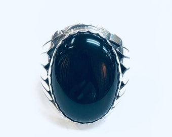 Native American Navajo handmade sterling silver onyx men's/women's ring