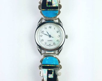 Native American Navajo handmade Sterling Silver inlay Turquoise Opal Onyx stone watch