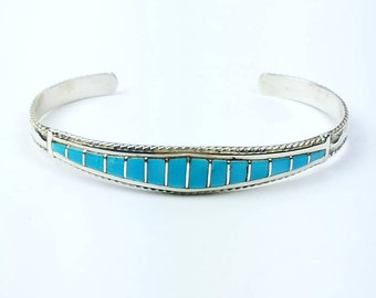 Native American Zuni handmade Sterling Silver inlay Turquoise bracelet