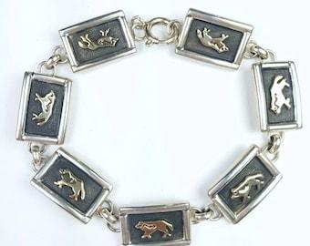 Native American Navajo handmade Sterling Silver 14k Gold overlay wolf link bracelet
