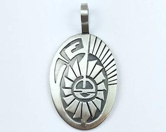 Native American Navajo handmade Hopi Style Sterling Silver pendant