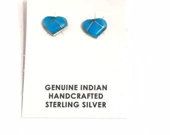 Native American Handmade Zuni Sterling Silver Turquoise Inlay Heart Stud Earrings