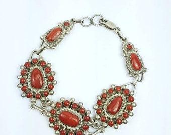 Native American Navajo handmade Sterling Silver Coral link bracelet