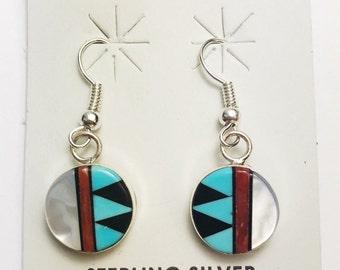 Native American Zuni Handmade Sterling Silver Muilticolor Earrings