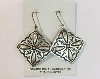 Native American Navajo handmade handstamped sterling silver dangle vintage patina dangle earrings