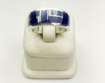 Native American Navajo Handmade Sterling Silver Navajo Lapiz Inlay Ring