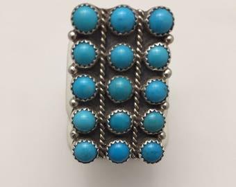 Vintage Native American Navajo Handmade Sterling Silver Cluster Kingman Turquoise Ring