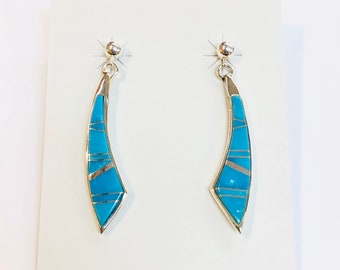 Native American Navajo handmade sterling silver turquoise inlay drop earrings