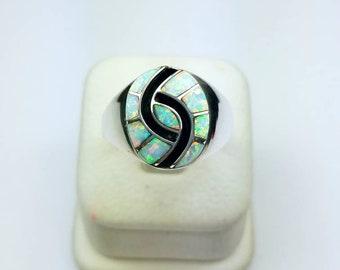 Native American Zuni handmade Sterling Silver Opal inlay ring
