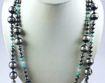 Native American Sterling Silver Navajo Pearl Turquoise Water Fresh Pearls graduated beaded stone necklace