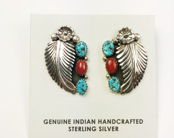 Native American Navajo Handmade Sterling Silver Kingman/ Coral Earrings