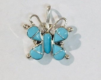 Native American Zuni inlay sterling silver with Sleeping Beauty Turquoise butterfly pendant