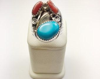 Native American Navajo Handmade Sterling Silver Kingman Turquoise, Coral Ring