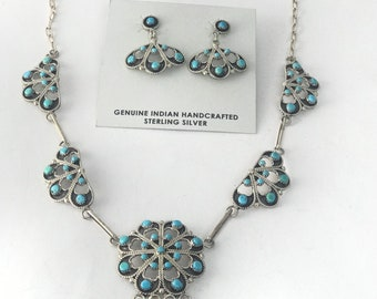 Native American Zuni Handmade Sterling Silver and Sleeping Beauty Turquoise necklace and earring set