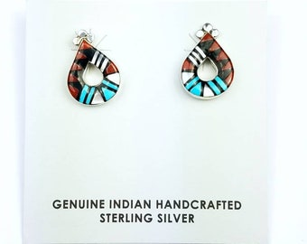 Native American Zuni handmade Sterling Silver inlay Turquoise Coral Onyx Mother of Pearl stone stud earrings
