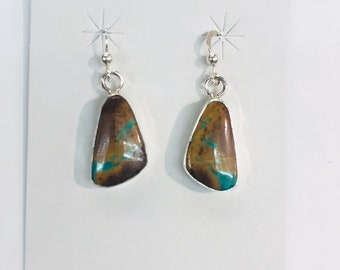 Native American Navajo handmade sterling silver boulder Turquoise Drop EArrings